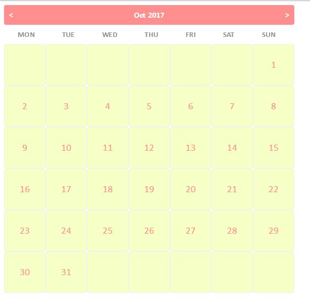 Calendar Design Using Jquery : How to create dynamic calendar using jquery ajax and php